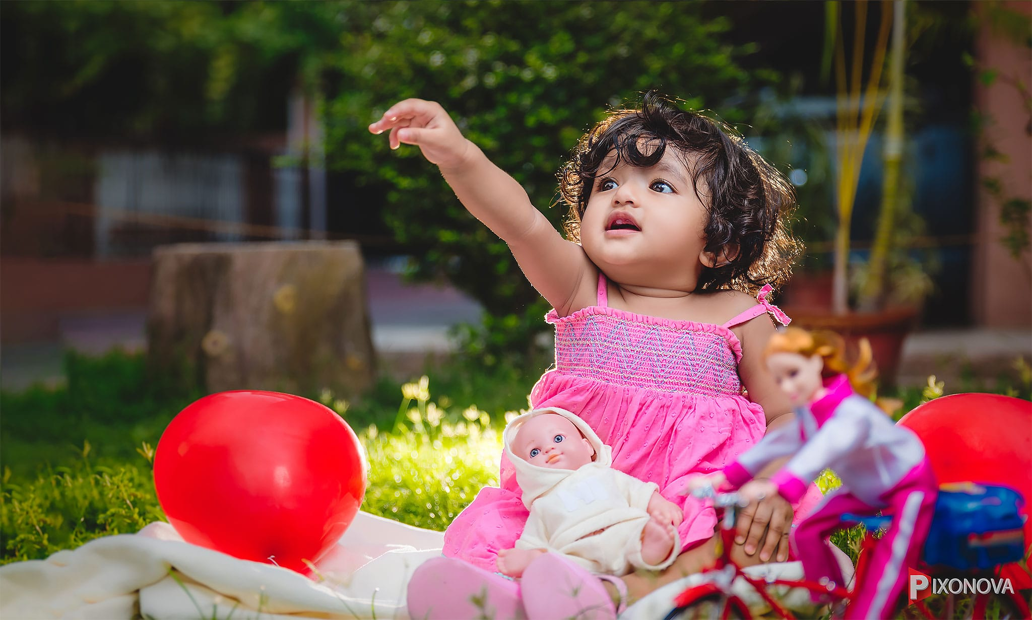 Cute girl Sanjuni happy and playing